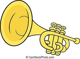 latón, trompeta, ilustración, amarillo