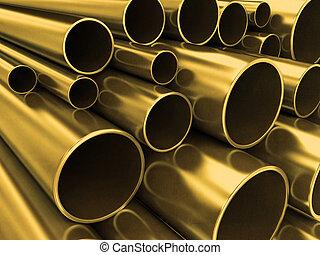 latón, tubos