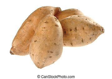(lat., batatas), ipomoea, zoet, brandpunt, vrijstaand, (selective, brandpunt, aardappels, voorkant, potato), witte