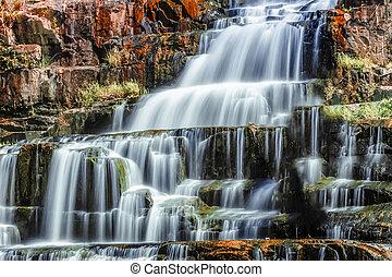 lat, da, vietnam, waterfall., pongour, cascada, agua, fluir