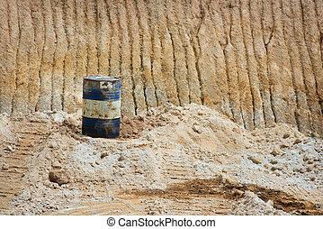 lata óleo, ligado, areia, minas