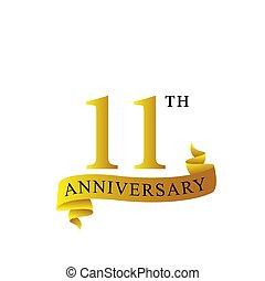 lata, 11, rocznica, logo, wstążka