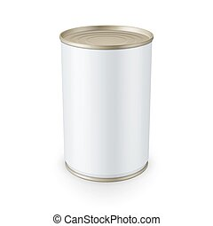 lata, branca, isolado, fundo, lata