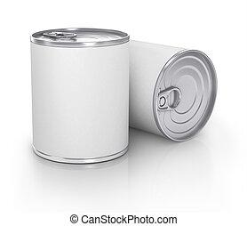 lata, com, em branco, branca, etiqueta, isolado, ligado,...