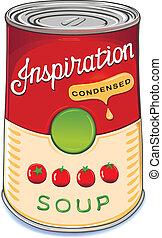 lata, de, condensado, sopa tomate, inspir