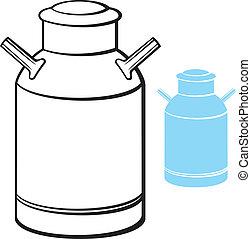lata de la leche, (retro, aluminio, leche, can)