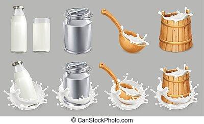 lata de la leche, y, splash., natural, lechería, products., 3d, vector, icono, conjunto