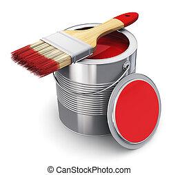 lata de la pintura, brocha, rojo