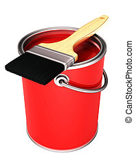 lata de la pintura, cepillo, rojo, 3d