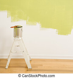 lata de la pintura, ladder.