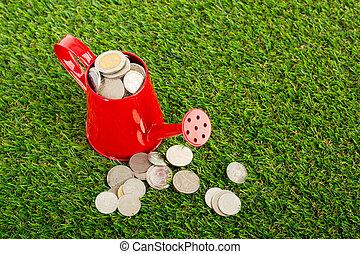 lata, el verter, con, crecer, planta dinero