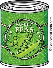 lata, ervilhas verdes