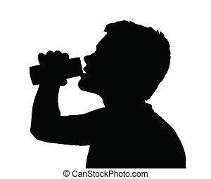 lata, menino, adolescente, bebendo, silueta