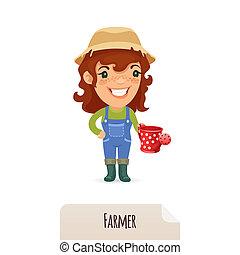 lata molhando, femininas, agricultor