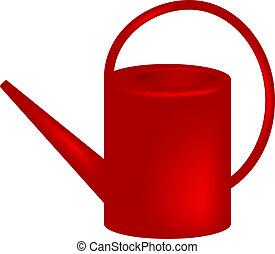 lata molhando, vermelho