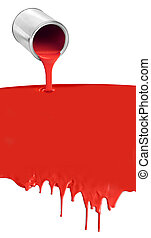 lata pintura, despejar, gotejando, vermelho, branco