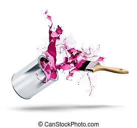 lata pintura, quedas, cor, respingo