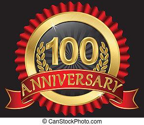 lata, złoty, rocznica, 100
