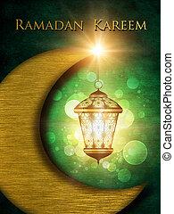 latarnia, błyszczący, ramadan, tło, kareem