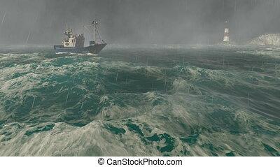 latarnia morska, łódka, burza