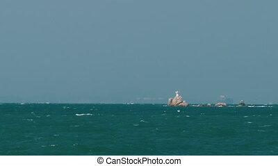 latarnia morska, środek, morze, skała