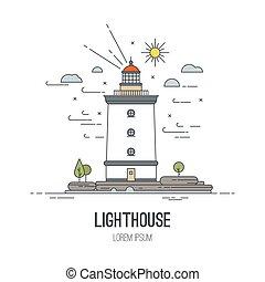 latarnia morska, ikona, wektor, illustration., w, modny, linearny, styl, -, nawigacyjny, i, podróż, concepts.