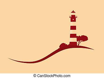latarnia morska, ilustracja, pagórkowata okolica, wektor, ...