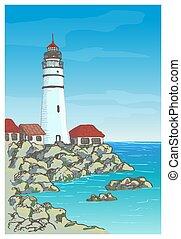 latarnia morska, krajobraz, wektor, skalisty brzeg