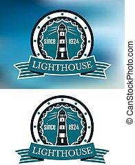 latarnia morska, logo, albo, emblemat, w, retro tytułują