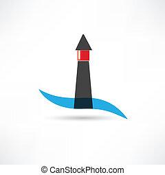 latarnia morska, machać, ikona