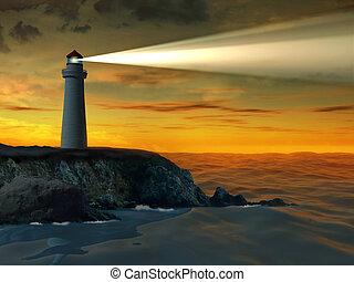 latarnia morska, na, zachód słońca