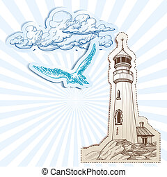 latarnia morska, niebo, tło