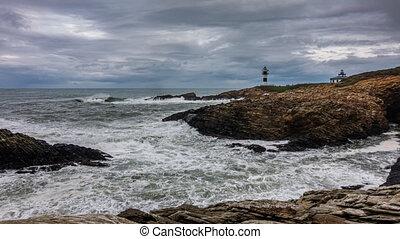 latarnia morska, ocean, czas, coastline, szorstki, pomyłka