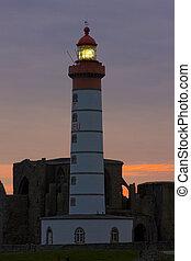 latarnia morska, od, pointe, klasztor, brittany, mathieu, francja, święty, gruzy