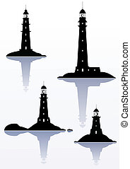 latarnia morska, -, odizolowany, cztery, ilustracje, biały