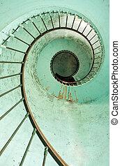 latarnia morska, schody, spirala