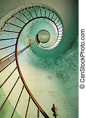 latarnia morska, spiralne schody