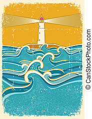 latarnia morska, stary, horyzont, texture.vector, ilustracja, papier, morze, fale