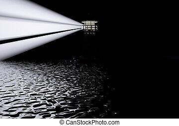 latarnia morska, w, ciemność, krajobraz, prospekt