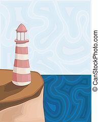 latarnia morska, wektor, ilustracja