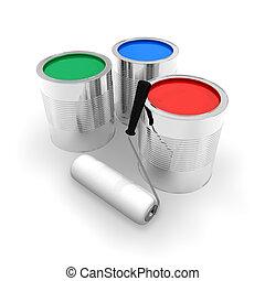 latas, com, cor, pintura