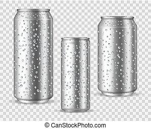 latas, gotitas, o, bebida, energía, cerveza, plata, mojado, blanco, vector, mockups, aluminio, frío, realista, metal, cans.