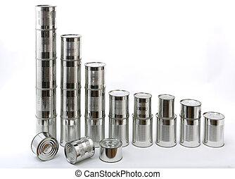 latas, pilas, aluminio, aislado
