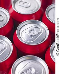 latas, rojo, cola