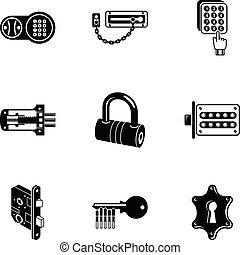 Latch icons set, simple style - Latch icons set. Simple set...