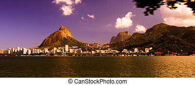 Beautiful skies over the Lagoa Rodrigo de Freitas in the city of Rio de Janeiro, Brazil