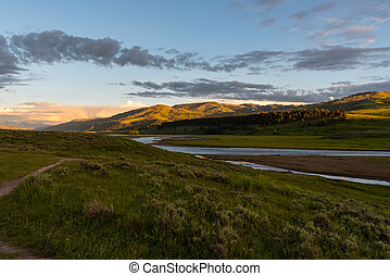 Late Afternoon Light Falls Over Lamar river and Valley in early summer