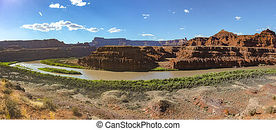 Late afternoon light on the Green River in Utah's canyonlands panorama