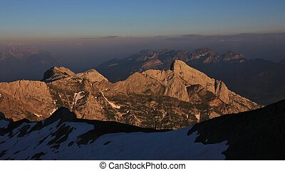 Late afternoon on Mount Santis. Mountains of the Swiss Alps in summer.