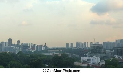 Late Afternoon Singapore Cityscape from Elevated Perspective...
